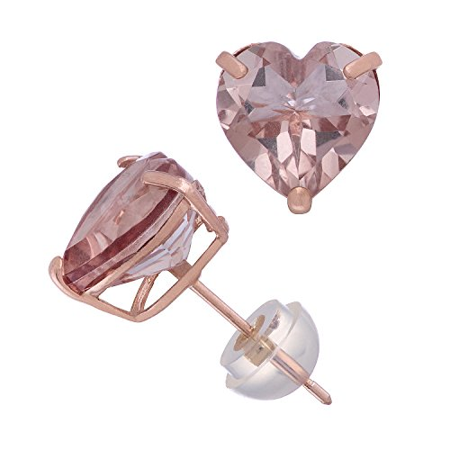 Simulated Morganite Heart Shape Stud Earrings in 10K Rose Gold, Comfort Fit - 8mm by Celebration Moments