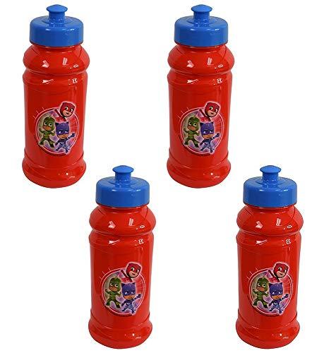 Zak Designs 4-Pack PJ Masks Kids 16oz Pull-Top Water Bottles, Red/Blue, BPA-Free ()