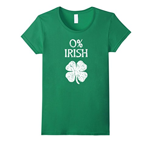 Womens 0% Irish Vintage St. Patrick Day T Shirt Small Kelly Green (Patricks Day St Vintage)