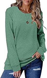 ELF QUEEN Women's Color Block Round Neck Tunic Tops Casual Long Sleeve T Shirt Blouse Sh