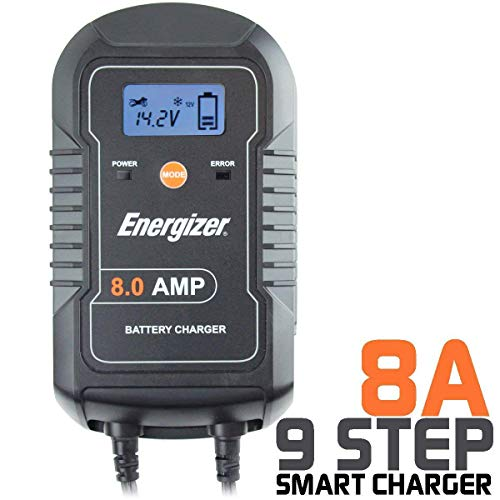 - Energizer ENC8A 8 Amp Battery Charger with LCD + Battery Maintainer 6/12V - 9 Step Smart Charging Technology Will Improve Your Battery's Life Cycle for Car, RV or Boat