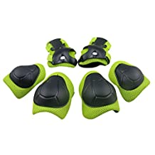 Panegy Kids Youth Protective Gear Safety Pad Safeguard Knee Elbow Wrist Roller BMX Bike Skateboard Hoverboard Protector 6pcs Green