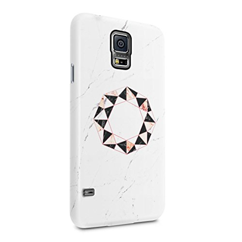 Onyx & Rose Quartz Octagon On White Marble Stone Hard Plastic Phone Case For Samsung Galaxy S5