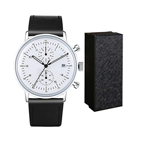 Men Quartz Watches Sports Chronograph Waterproof Genuine Leather Band Business Wristwatch ... (white)