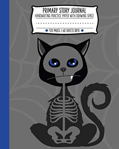Halloween Classroom Activities 1st Grade (Primary Story Journal: Black Cat Skeleton Halloween Handwriting and Drawing Practice)