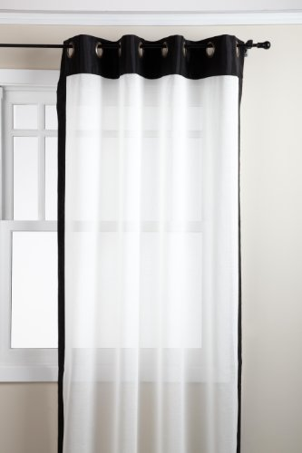 Stylemaster Soho 55 by 95-Inch Sheer Grommet Panel with Faux Silk Border, Onyx