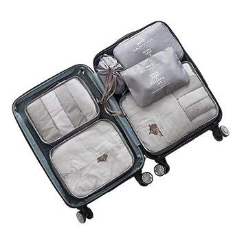 40a4aec4fa8b Amazon.com : Saasiiyo 6 Pcs/Set Polyester Zipper Travel Bags Fashion ...