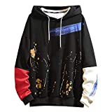 Uqiangy Men's Casual Loose Fashion Printed Pocket Pullover Hoodie Sweatershirt Plus Sizes(Black,L)