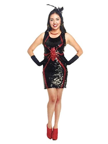 Sexy Waldo Dress Costumes (Sexy Sequin Spider Fancy Dress Halloween Costume Dress Adult Womens Black Red)