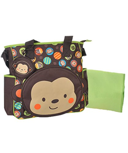 Babyboom Monkey Circles Diaper Tote Bag - brown/lime, one size