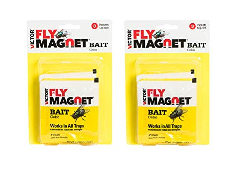2-Pack Victor Fly Magnet Replacement Bait (3-Packets of 12g Bait per Pack=6 baits); Patented Non-Poisonous Bait for Outdoor use; Children, Pets&Environment Safe. Works w/ Victor Fly Magnet Trap! ()