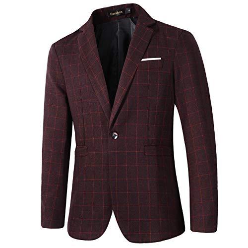 Beninos Mens Casual One Button Slim Fit Plaid Blazer Jacket (771 Burgundy, XL) ()