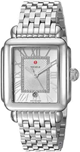 MICHELE Women's 'Deco Madison' Swiss Quartz Stainless Steel Casual Watch, Color:Silver-Toned (Model: MWW06T000141)