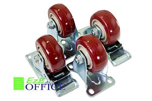 Caster Wheels Steel Plate Casters On Red Polyurethane Wheels 1200 Lbs 3 inch 2 with Brake 2 Fixed Plate - Gladiator Cabinet Level