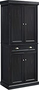 picture of Crosley Furniture Seaside Kitchen Pantry Cabinet - Distressed Black