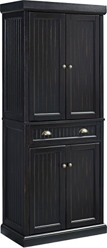 (Crosley Furniture Seaside Kitchen Pantry Cabinet - Distressed Black )