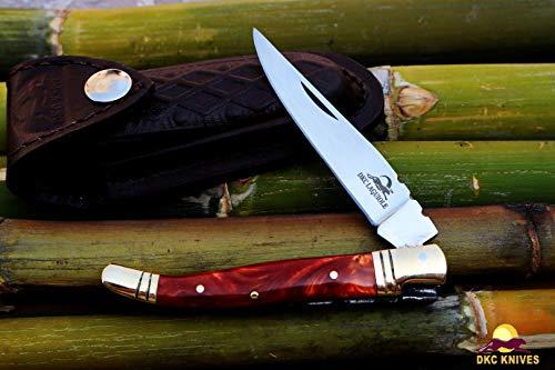 DKC Knives DKC-698-OP-P-440c Orange Pearl Cobra Resin Prince Laguiole 440c Stainless Steel Folding Pocket Knife 4
