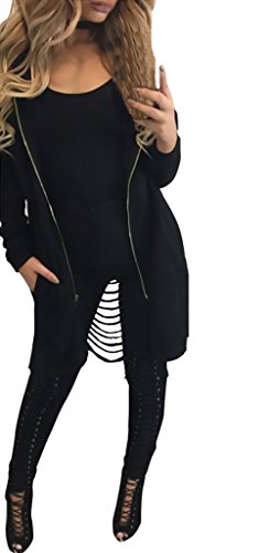Cárdigans Primavera Mujer Con Coat Encapuchado Hollow Outcoat Chaquetas Zipper Con Otoño Negro Cremallera Largo Irregular Capucha Sólido Espalda Único Abrigos Color Casual Parka OTqwSSx