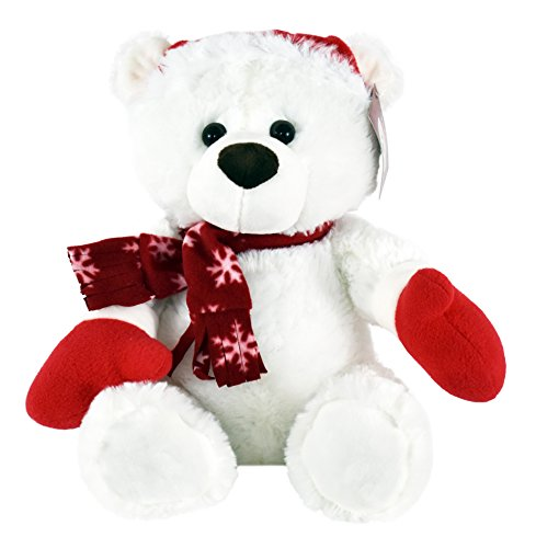 KINREX Stuffed Animal Plush Teddy Bear-Extra Soft Christmas White Teddy Bear with Santa Hat and Scarf - Great Gifts for Kids and Adults 11.81