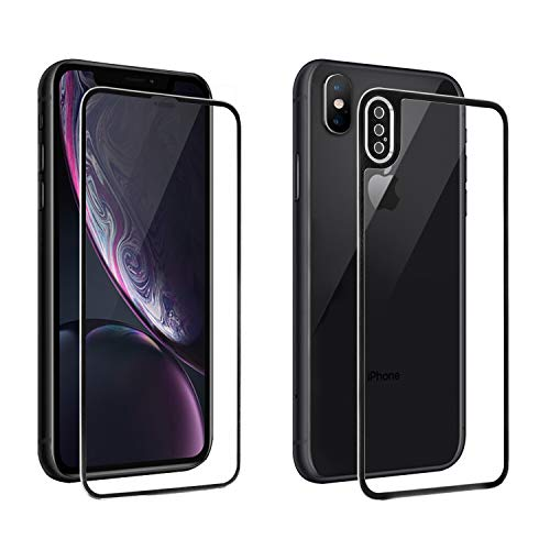 [Camera Armor] iPhone XS Max Screen Protector Glass, Front & Back Full Coverage Tempered Glass Screen Protector [Titanium Edge] [3D Curved] [3D Touch] Anti-Scratch 0.26mm HD (Black, For iPhone XS -
