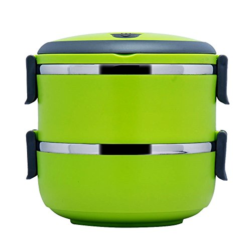 1.4 L Stacking Lunch Box- Food Containers,Two Tier Tiffin with Vacuum Seal Lid and Stainless Steel Interior Green (CAN'T KEEP WARM) (Insulated Hot Lunch Box compare prices)