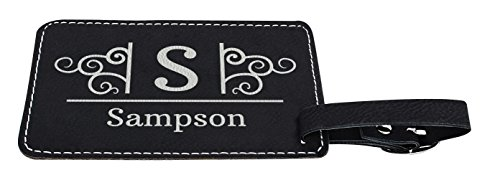 Personalized Luggage Tags Custom Initial & Name Personalized Gifts for Travelers Personalized 2-pack Laser Engraved Leather Luggage Tags Black by Personalized Gifts (Image #3)