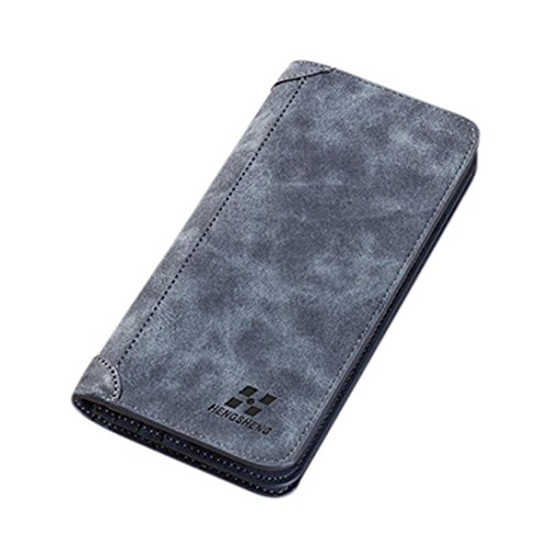 Flingdress Men Blocking Long Section Leather Wallet Card Holder Purse With Coin Pocket (Blue)