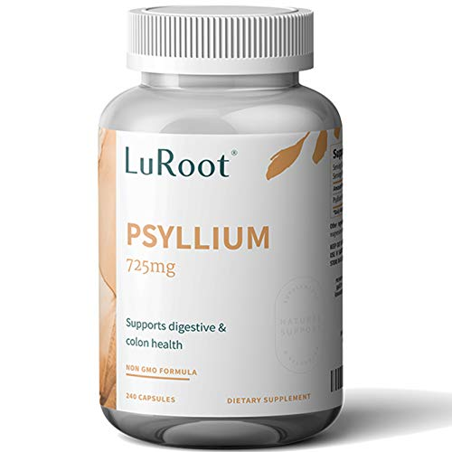 Psyllium Husk Seed Powder Capsules, 240 Capsules – 725 mg per Serving, Made with Non-GMO & Gluten Free psyllium Husk – Soluble Fiber Supplement by LuRoot
