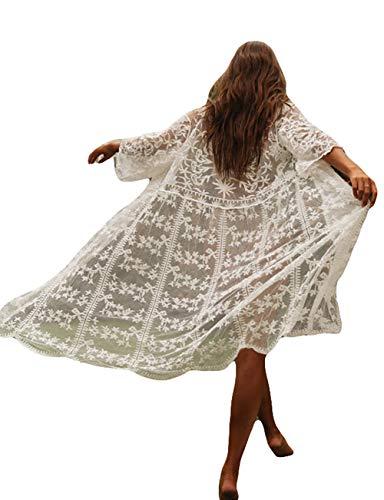 Bsubseach 3/4 Sleeve White Lace See Through Beach Kimono Cardigan Women Bikini Swimsuit Cover Ups Swimwear