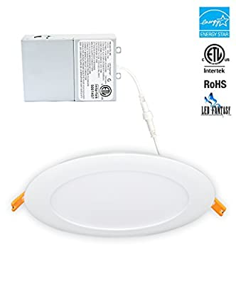 LED FANTASY 6-Inch 14W 120V Recessed Ultra Thin Ceiling LED Light Retrofit Downlight Wafer Panel Slim IC Rated ETL Energy Star