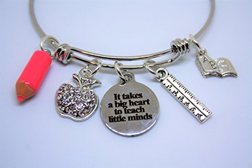 Teacher Bling Charm Bangle Bracelet Gift It takes a big heart to shape little minds quote apple ruler book pink pencil charm]()