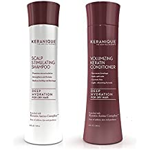 Keranique Deep Hydration Scalp Stimulating Shampoo and Volumizing Conditioner Set, 8 Fl Oz - Keratin Amino Complex, Sulfate, Dyes and Parabens Free | Strengthen and Thickens Hair | Add Body and Volume