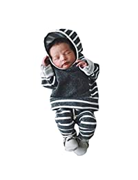 Perman 2PCS Newborn Baby Boys Girls Striped Hooded Tops+Pants Outfits