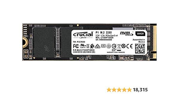 Crucial CT500P1SSD8 P1 Disco Duro sólido Interno SSD de 500 GB (3D NAND, NVMe, PCIe, M.2)