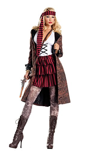 Be Wicked Costumes Women's Provocative Pirate Costume, Brown/Red/Black/White, Medium/Large