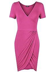 Laksmi Women's V-Neck Draped Short Sleeve Dress with Asymmetric Hem