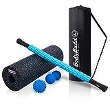 BodyBudd Foam Roller Set | 18' Massage Foam Roller, 22' Muscle Roller Stick, Foot Massage Ball, Lacrosse Peanut Ball | 5 in 1 Deep Tissue Myofascial Release with Travel Bag