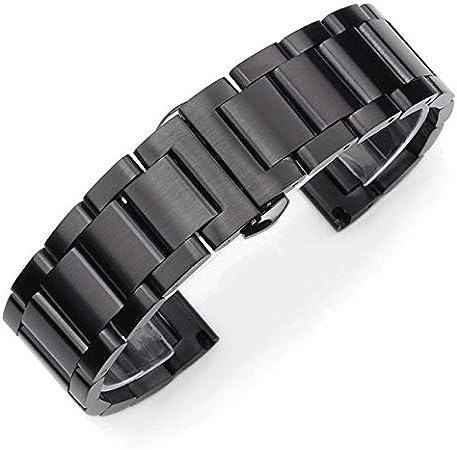 ROUHO Accesorios para Relojes Granos Gruesos Sólidos Correa De Acero Metal Negro Mate Cepillado Correa De Reloj-A 26mm