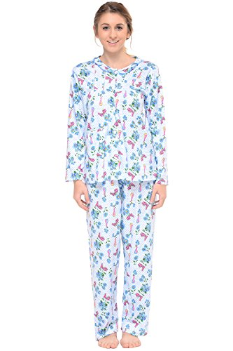 Casual Nights Womens Embroidered Contrast Print Long Sleeve Pajama Set