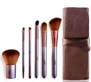 MSQ 6pcs brown Cosmetic Makeup Brushes Set Brush Make up Tool Leather Case (AWDSALES)