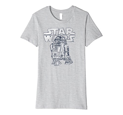 Womens Star Wars R2-D2 Vintage Style Premium Graphic T-Shirt Medium Heather Grey