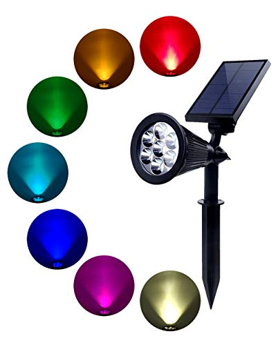 BOHON Solar Lights Outdoor - Ultra Bright, Waterproof, 7 LEDs Spot Light Auto On/Off, Rechargeable Uplight Lighting Flag Pole, Landscape, Yard, Patio, Garden (Changing Color & Fixed Color) by BOHON