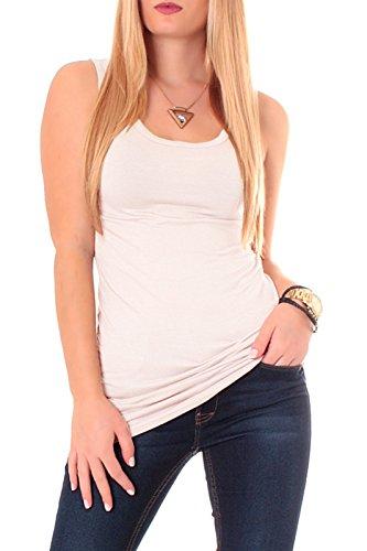 Camiseta espalda nadadora de algodón, camiseta de tirantes, de un color, básica, larga beige Talla única