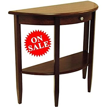 Amazon Com Hall Entryway Console Table With Drawer And Shelf Narrow Half Moon Small Wooden