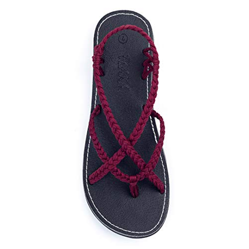 Plaka Flat Sandals for Women Sangria Size 7 Lagoon