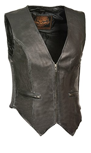 Milwaukee Leather Women's Classic Four Snap Vest (Black, 5X-Large) by Milwaukee Leather