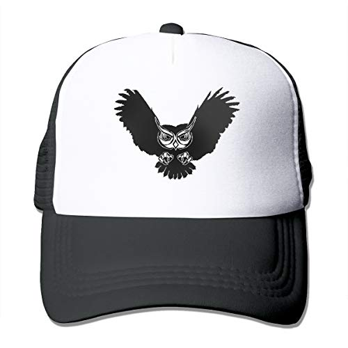 Owl Clipart Trucker Hat Snap Back Sun Mesh Baseball Cap Hip Hop Flat Hats for Men and Women Black -