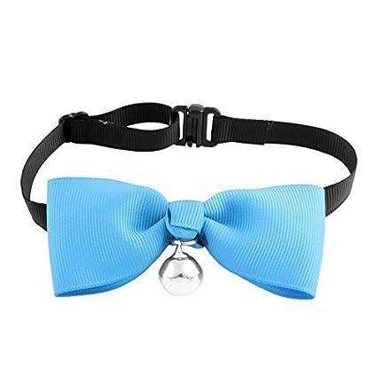 eDealMax Gato Bowknot colgante de Bell pajarita corbata de Cuello de ropa Partido Azul