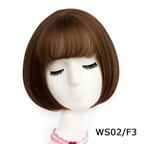 Short Wavy BOB Wigs Womens Brown Black Blonde Natural Hair Wigs Female Heat Resistant Fiber,WS 02 F3,14inches ()