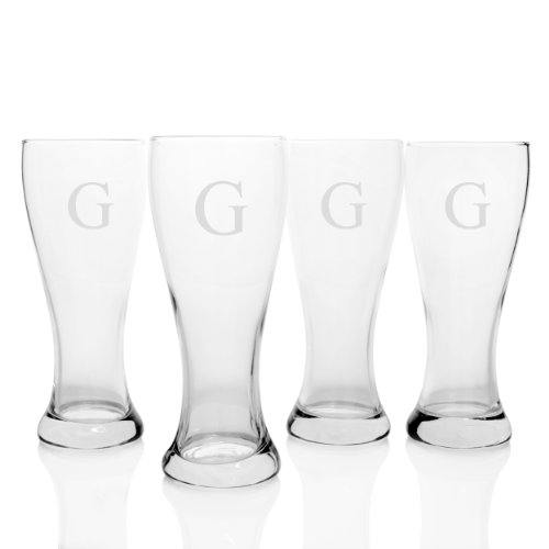 Personalized Four Pilsner Glass - Cathy's Concepts Personalized Pilsner Glasses, Set of 4, Letter G
